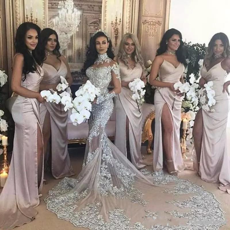 Vestido de novia de sirena árabe de cuello alto, manga larga, cuentas...