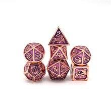 HYMGHO zink-legierung Kupfer überzug lila emaille metall würfel dnd würfel set rpg polyhedral für dungeons und drachen tabelle spiele