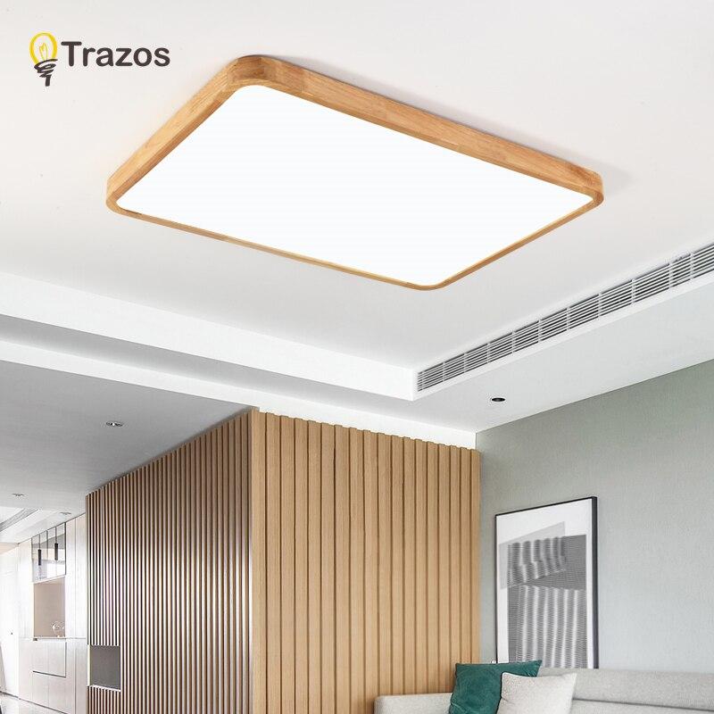 Lámpara de techo de madera de roble Simple y moderna de estilo nórdico, luces LED de techo Ultra finas japonesas para dormitorio, sala, cocina, estudio, balcón