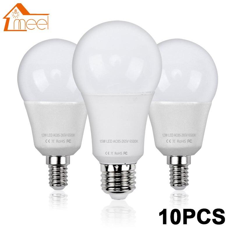 10 pcs LED Lamp E27 E14 220V 240V Lampada Ampoule Bombilla Real Power 3W 5W 7W 9W 12W 15W LED Bulb Lamp Smart IC Light