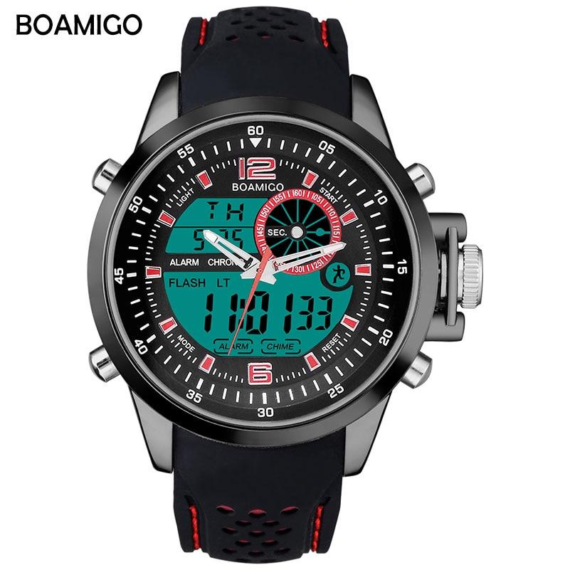 Relojes deportivos marca BOAMIGO para hombre, reloj digital de doble horario, reloj de cuarzo analógico de goma, reloj de pulsera con cronógrafo para nadar, reloj para hombre