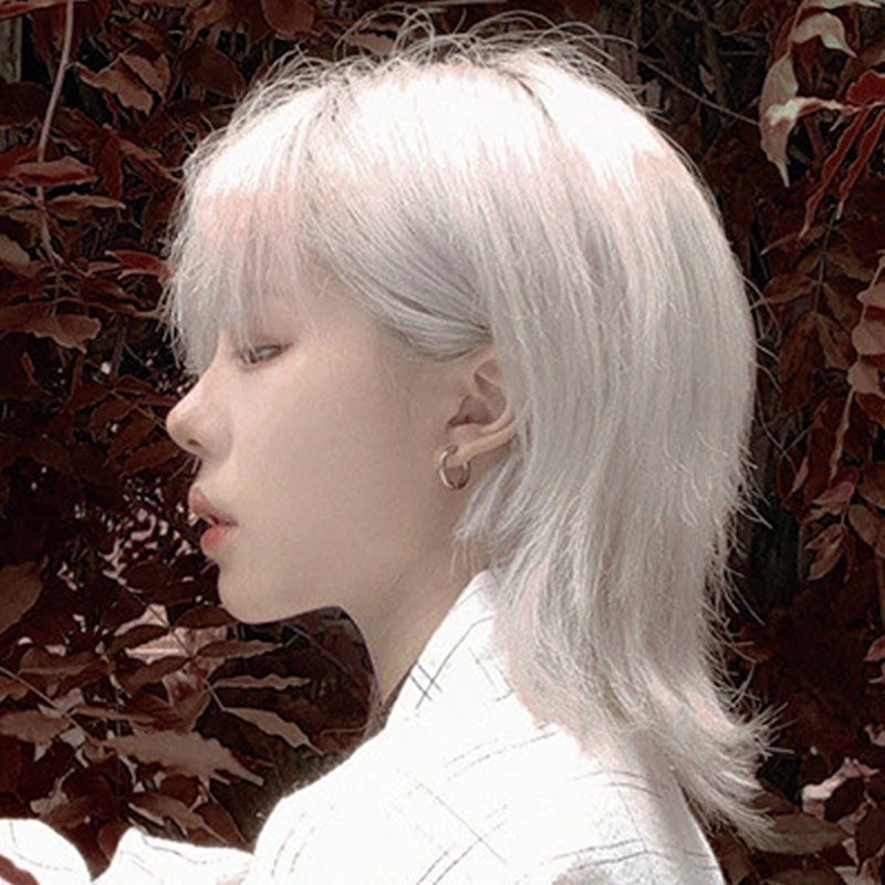 Pinkish White Mullet Hair Harajuku Cool Wig Shoulder Short Straight Kawaii Lolita Adult Chic Girls Women Cosplay Daily Wear