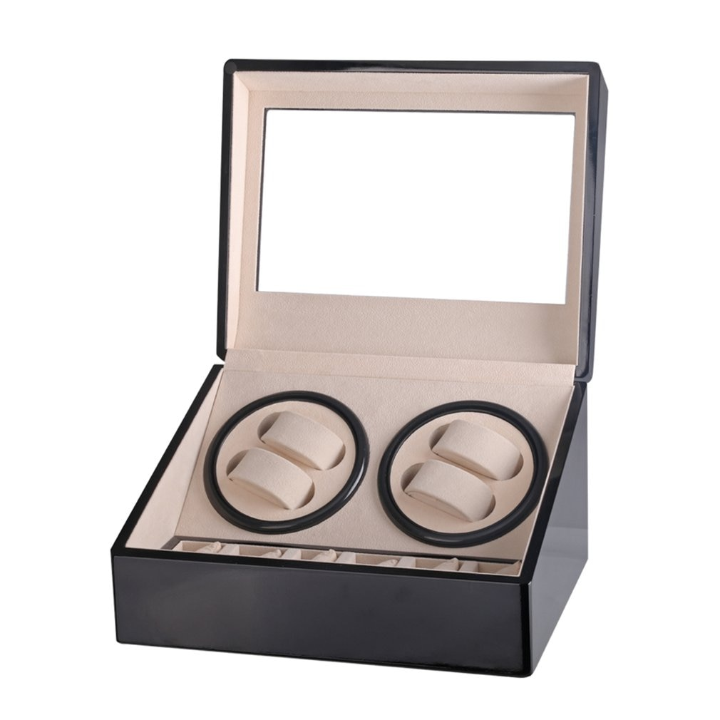 Nuevo reloj de lujo 4 + 6 automático mecánico negro caja de alta clase Motor Shaker reloj Winder joyería titular Display US/EU/AU/UK Plug