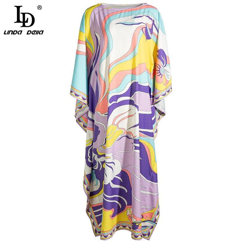 Vestido largo Maxi de talla grande suelto de verano LD LINDA DELLA para mujer, vestido vintage estampado Multicolor con mangas murciélago de diseñador a la moda para mujer