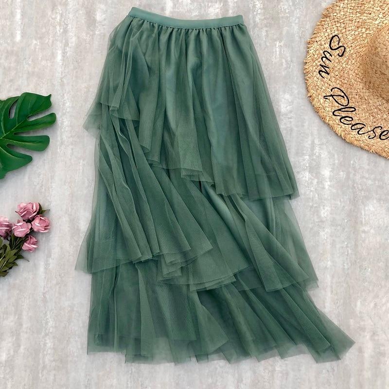 Skirts Womens Irregular Tulle Skirts Fashion Elastic High Waist Mesh Tutu Skirt Patchwork Long Skirt Midi Skirts