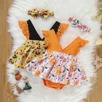 baby girl%e2%80%99s casual fly sleeve romper fashion pumpkin printed hem jumpsuits and headband