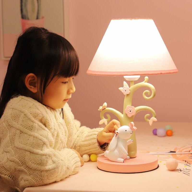 Moderna lámpara de escritorio Rosa tipo europeo, romántica y contraída, creativa lámpara de noche rosa para dormitorio de niña flores rosa para habitación de niños