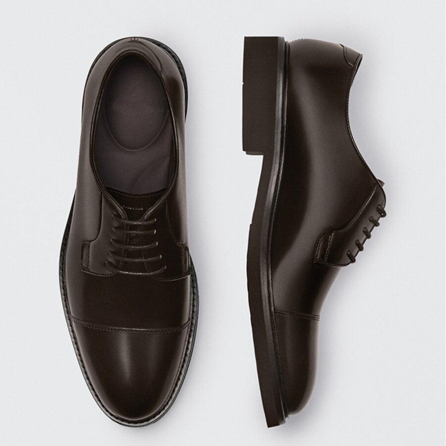 ذبل الأعمال فستان حذاء رجالي Enlgand موضة بسيطة مكتب خمر جلد البقر الحقيقي الأحذية الرسمية الذكور الرجال ديربي الأحذية