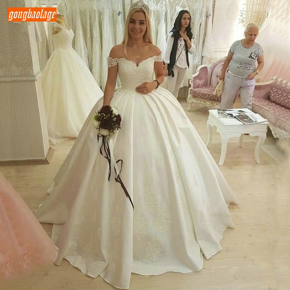 Сексуальное бальное платье цвета слоновой кости, свадебные платья, милое атласное Кружевное белое платье с аппликацией, свадебное платье с ...