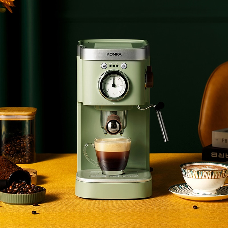 KONKA الايطالية شبه التلقائي آلة قهوة بالكبسولات المنزلية الرجعية يتوهم الحليب فقاعة صغيرة آلة القهوة مسحوق ثنائي الغرض