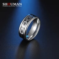 shouman stainless steel chain piece inlay fashion cool punk ring for man wedding band jewelry father day gift