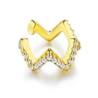 silverhoo new clip earrings for women 925 sterling silver geometric wave white round cubic zirconia earring fine jewelry