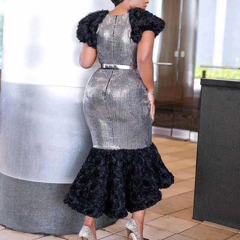 Сексуальное Клубное вечернее платье размера плюс, серебристые осенние женские платья, асимметричное элегантное платье русалки в африканском стиле, женское модное шикарное платье миди