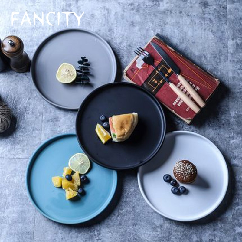 FANCITY-طبق سيراميك إسكندنافي مع جانب ، شريحة لحم ، معكرونة ، سلطة فواكه ، كعكة باهتة ، طبق غربي