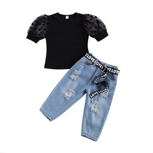 2Pcs Fashion Summer Kids Girls Casual Clothes Set Black Short Puff Sleeve Tops+Blue Elastic Waist Jeans+Waistband Toddler Outfit