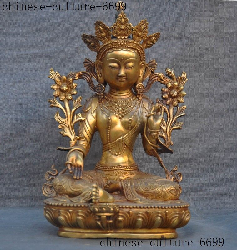 Décoration de mariage ancien bouddhisme tibétain bronze doré tara kwan-yin Guanyin Bodhisattva statue de bouddha