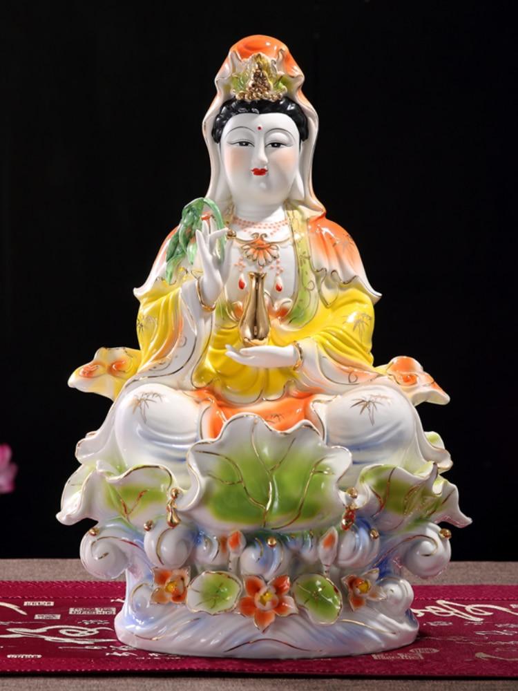 Buddhist Buddha Statue Guanyin Statue Ceramic Crafts Porcelain Full Color Sitting Lotus Guanyin Buddha Statue White Porcelain