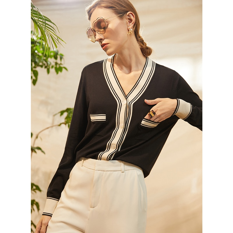 Cardigan Women 49%Tencel Knitted Elegant Design V Neck Long Sleeves Spliced 2 Colors High Quality Casual Style New Fashion