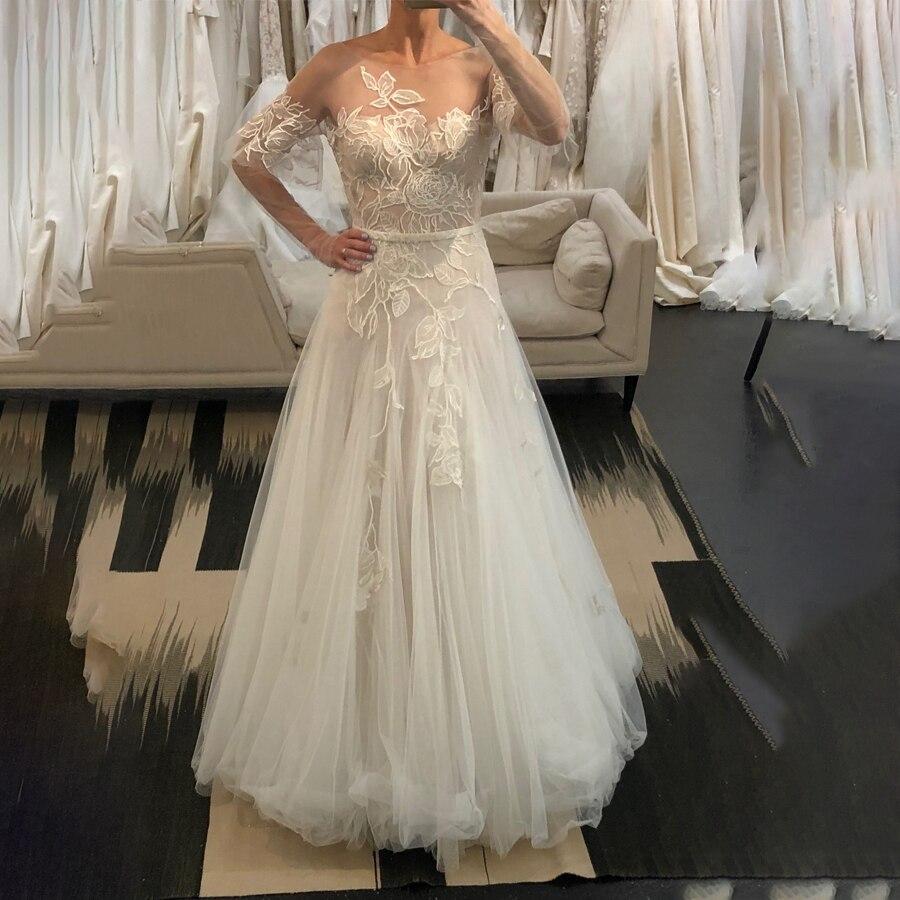 Vestido de novia de media manga de hoja de encaje con apliques...