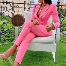 Rose manches longues Double boutonnage costume Blazer et pantalon deux pièces ensembles col en v profond femmes Sexy tenues 2020 nouveau bureau dames ensemble