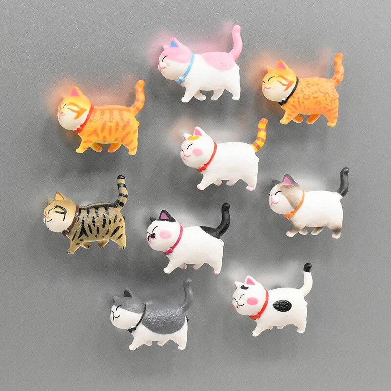 9 peças mini gatinho geladeira japonesa de desenhos animados gatinho geladeira imã caixa de gelo animais fofos decoração da casa