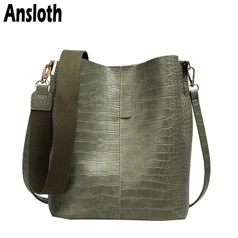 Ansloth Luxury Crocodile Handbag Women Solid Color Bucket Bag Adjustable Shoulder Bag Lady Large Capacity Crossbody Bag HPS704