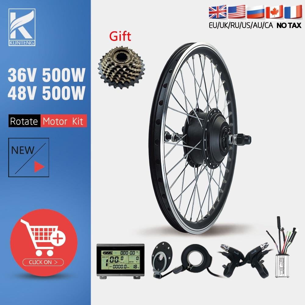 36V48V 500W EBike Conversion Kit Rear Rotate Hub motor Wheel 16 20 24 26 27.5 28 29inch 700C Brushless Gear Hub Motor Ebike Kit