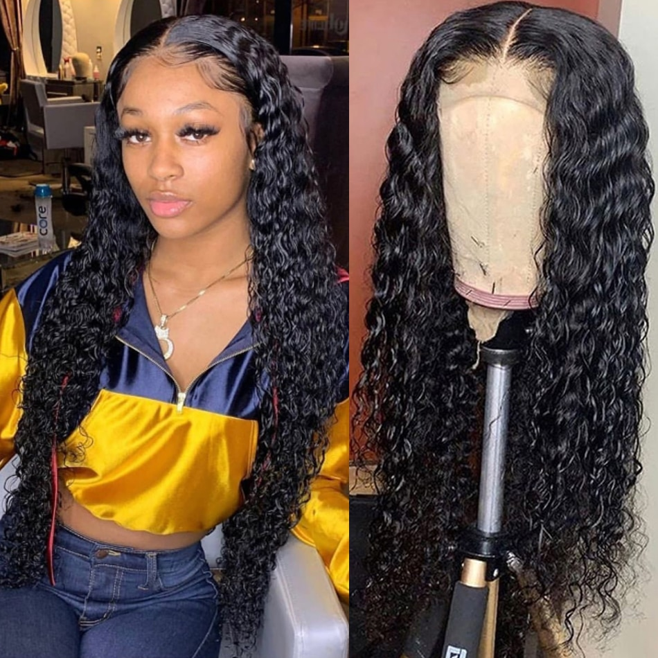 30Inch Water Wave Lace Closure Cheap Remy Human Hair Wigs 150% Density Wet and Wavy Lace Frontal Wig For Black Women 13X4 Lace