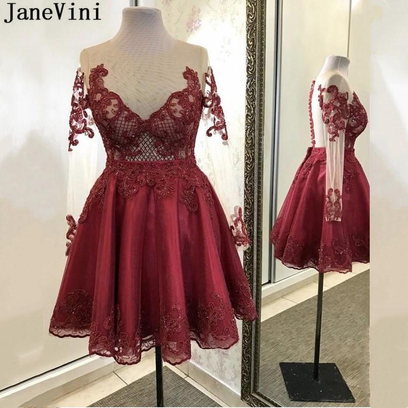 JaneVini-Vestido corto Formal de tul con manga larga y encaje para mujer, Vestido corto de cóctel con cuentas, apliques para fiesta, 2020