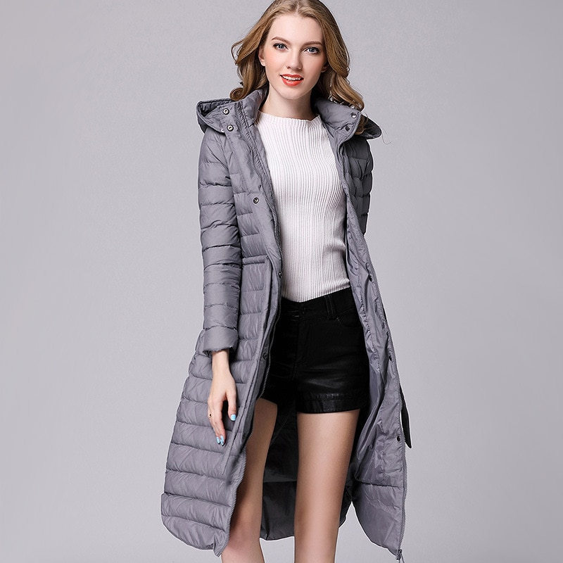 2021 new Korean style long long over-the-knee hooded down jacket for ladies plus size waist slim coat, comfortable and casual