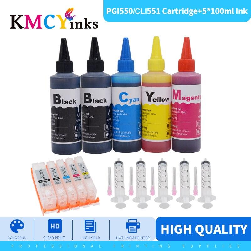 Kit de Recarga de Tinta para Canon Pixma Kmcyinks Mx925 Mg5550 Mg6450 Mg5650 Mg6650 Ix6850 Mx725 Igp 550 551 Ip7250 Pgi-550 Mg5450