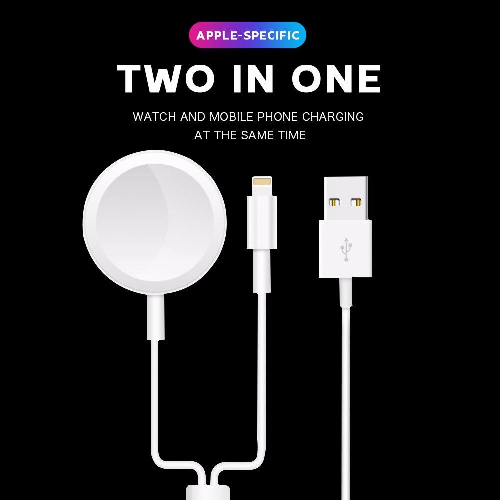 Cargador inalámbrico Qi magnético 2 en 1 para Apple IWatch 1 2 3 4 5 Applewatch Cable de carga rápida USB para iPhone 11 Pro Max XS XR X