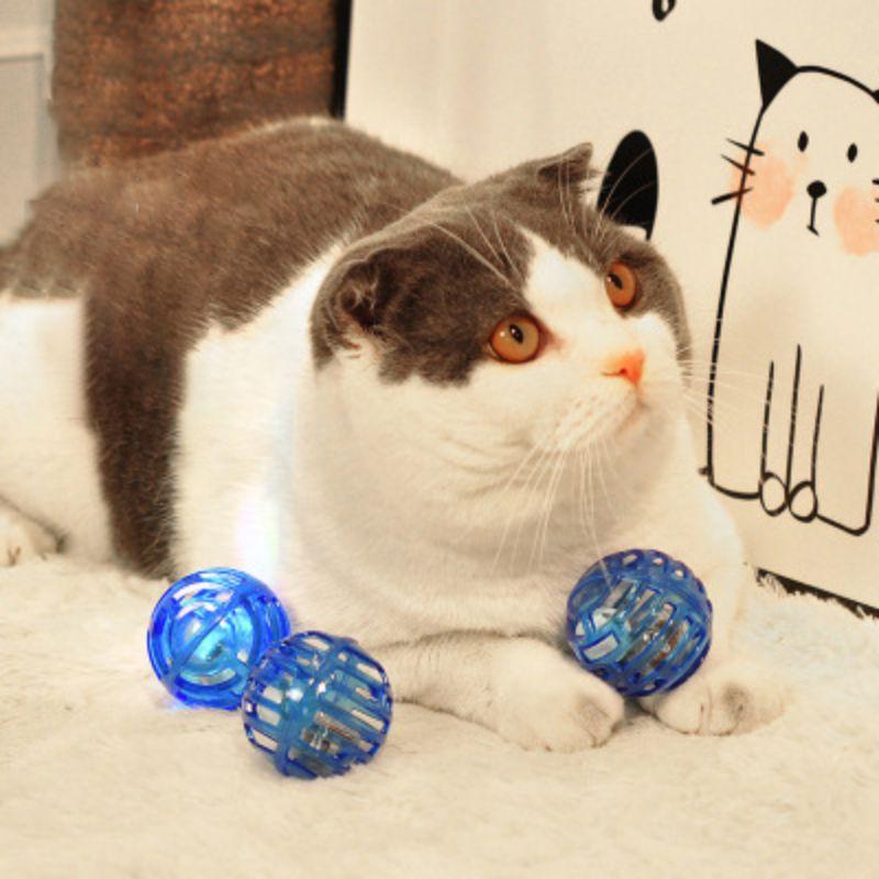 Pelota de plástico 3 uds con campana Para Gatos Producto juguetes Para Gatos Ejercicio de gatito interactivo juguete luminoso Para Mascotas