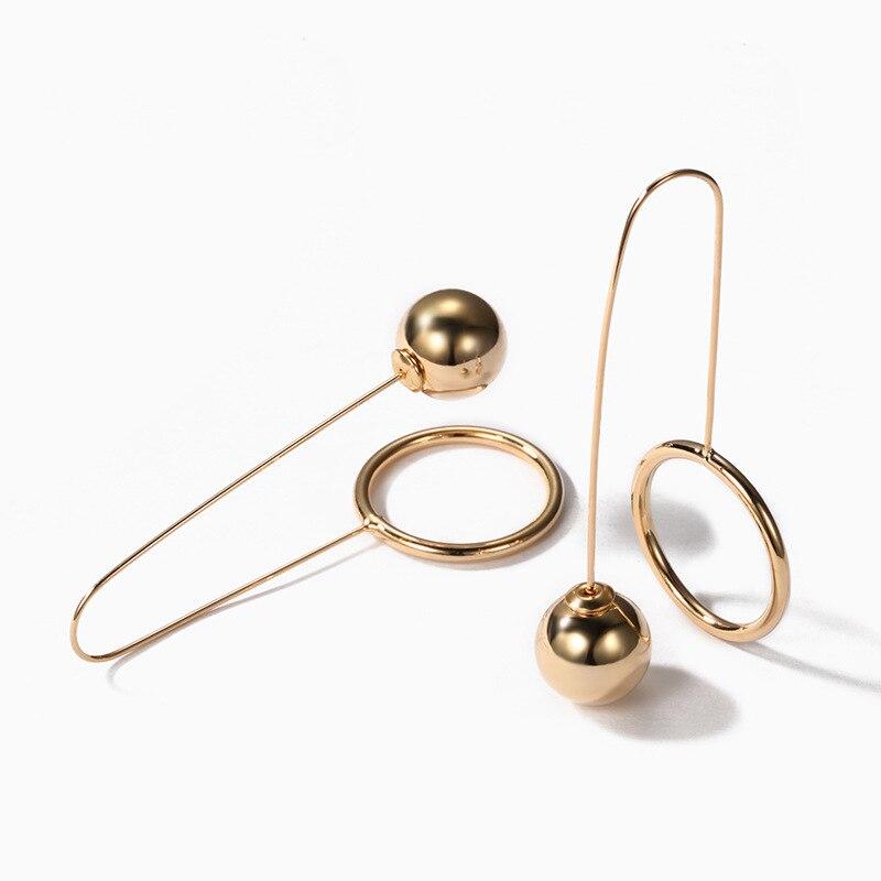 Trendy Geometrische Lange U Form Clip Auf Ohrringe Mode Gold Ball Stud Ohrringe Für Frauen korean Schmuck Geschenke серьги шары