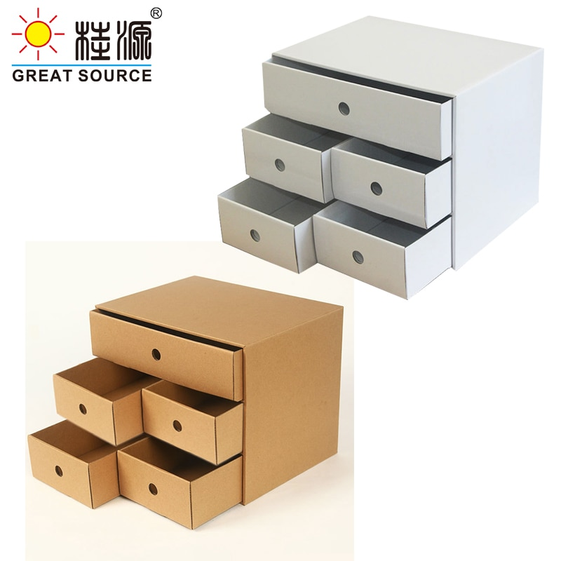 5 Drawers Storage Composable Cabinet Office Corrugate Foldable Home Storage Kraft Paper Environment Friendly