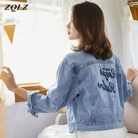 zqlz spring denim jacket women 2020 new embroidery letter casual single breasted clothing autumn blue coat female