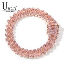 Uwin s-link Miami 12mm or Rose Bracelet cubain Rose strass alliage congelé Hip Hop mode Punk collier bijoux