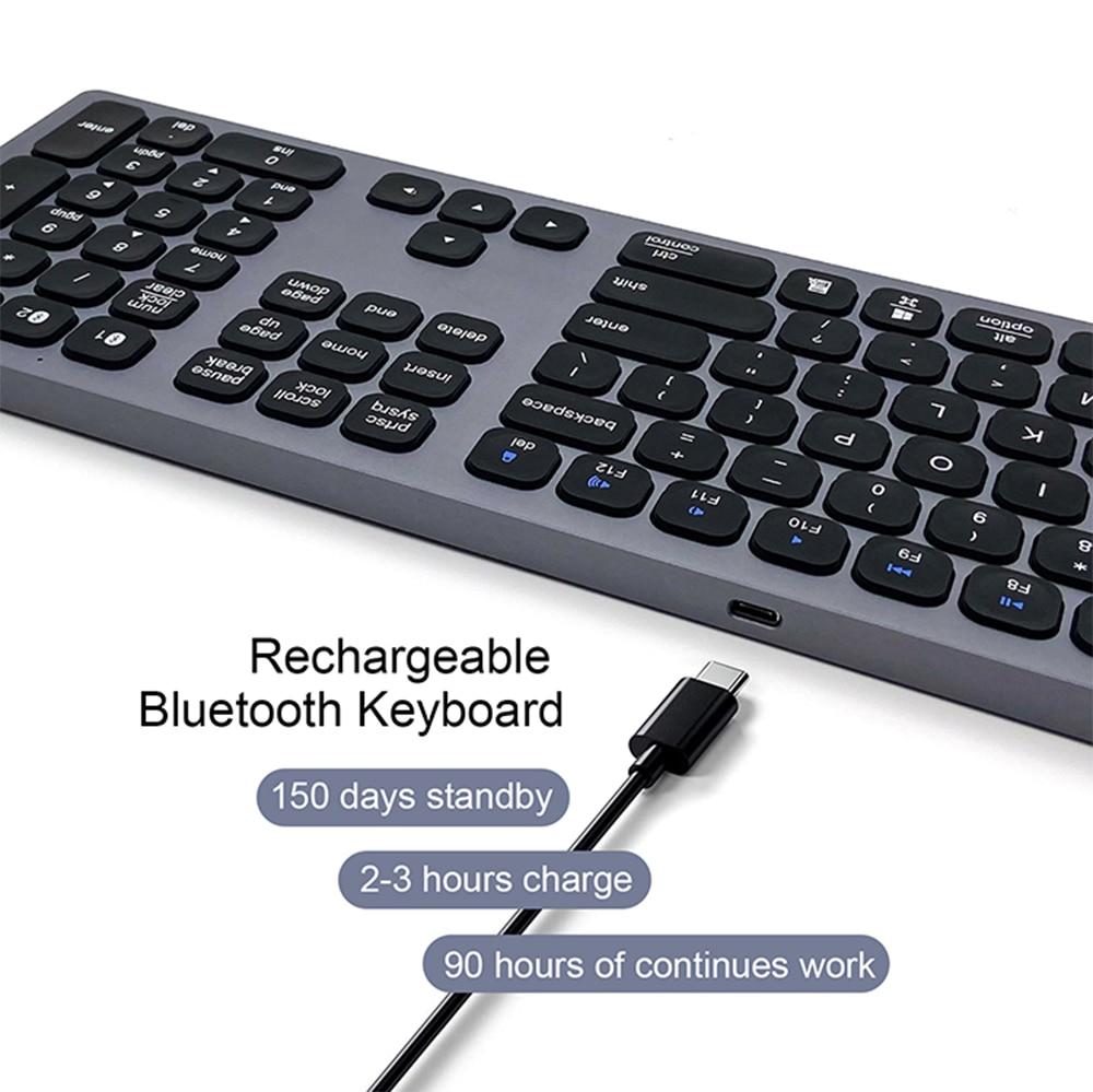 BK9803 بلوتوث لوحة المفاتيح نوع-C قابلة للشحن لاسلكية 110-مفتاح لوحة المفاتيح ل ماك كمبيوتر لوحي (تابلت) وهاتف ذكي دعم الروبوت ويندوز