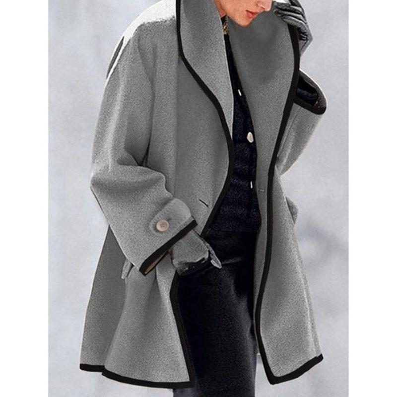 موضة النساء مقنعين سترة طويلة سترة الخريف الشتاء الصلبة طويلة الأكمام الصوف معطف عادية الدافئة جيب زر واحد أبلى 5XL