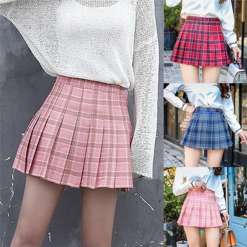 2019 nueva moda de Mujeres de cintura alta cuadros directo falda acampanada plisado corto falda de la muchacha de la Escuela de Mini falda