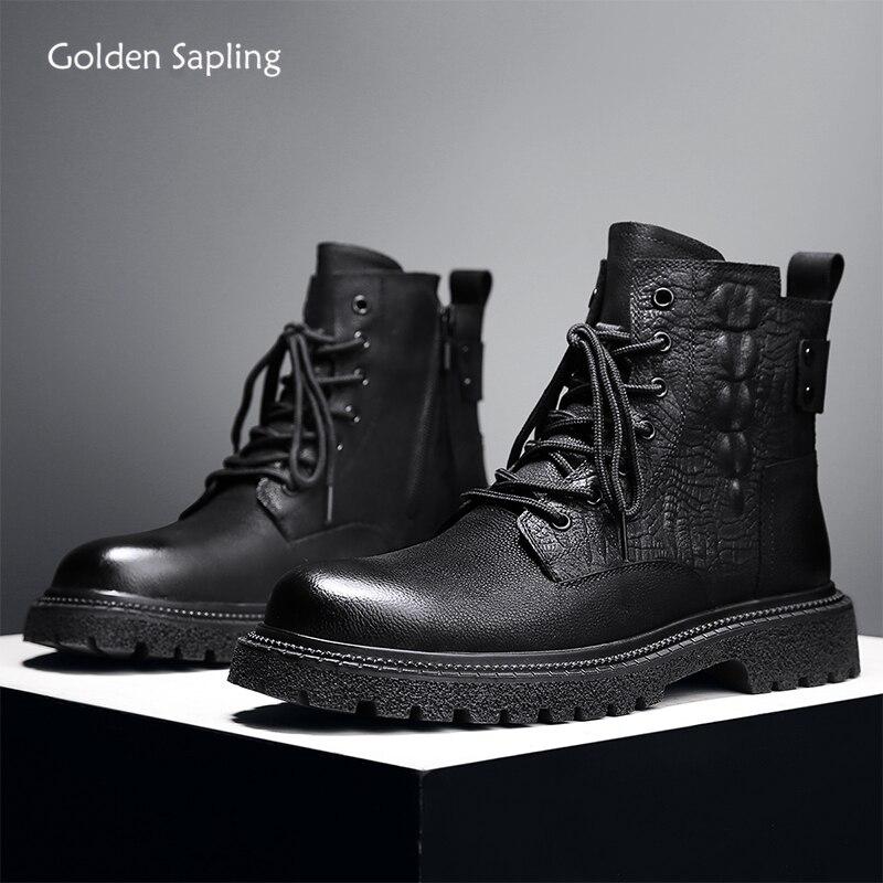 Golden Sapling Punk Men's Boots Genuine Leather Winter Shoes Warm Plush Men Leisure Boot Classics Men Classic Retro Casual Shoes