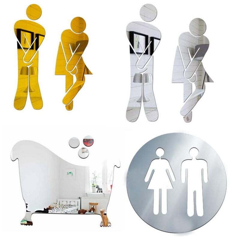 3D акриловые наклейки на зеркало для ванной женщины и мужчины туалетный знак зеркальный настенный стикер домашний отель дверь в Туалет знак ...