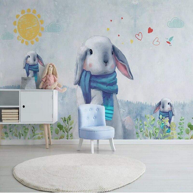 Детская комната настенная простая картина 3d милый кролик обои украшение дома