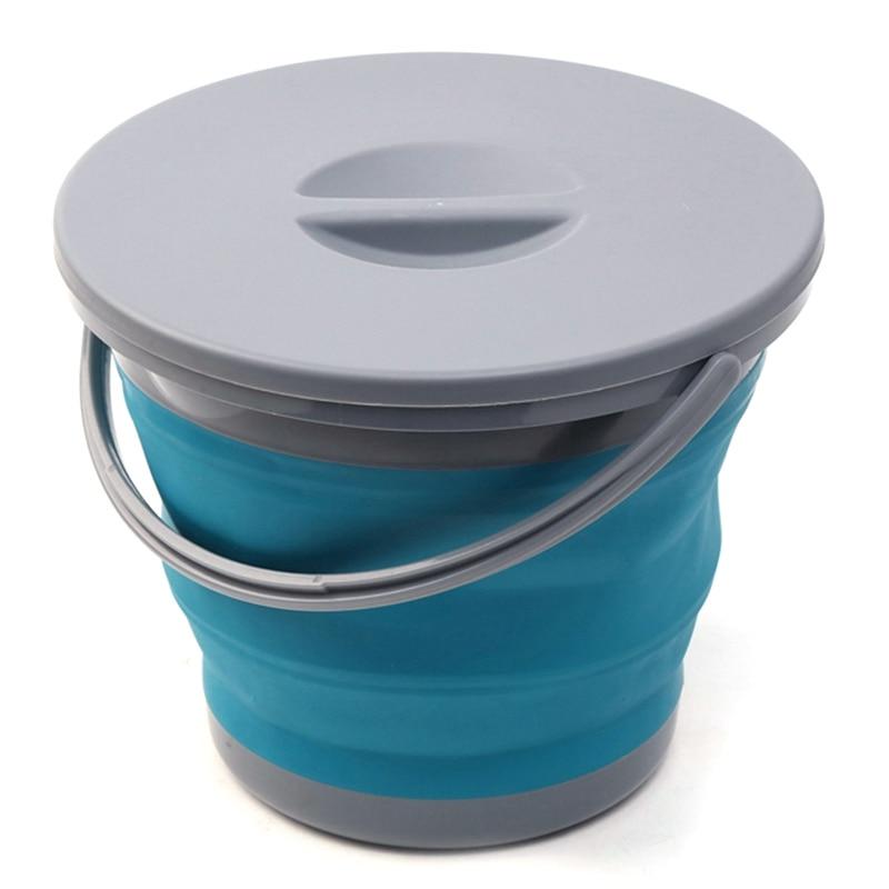 Promoción -- cubo plegable de 5L con cubierta, cubo para coche plegable portátil, promoción de pesca, baño, cocina, Cubo de silicona Outd