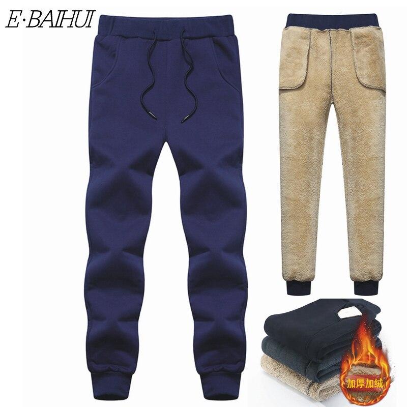 Мужские шерстяные брюки E-BAIHUI, бархатные брюки, мужские толстые флисовые джоггеры, зимние супер теплые брюки, тяжелые брюки, мужские спортив...