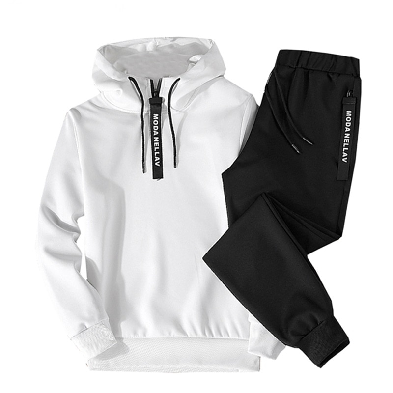 Men Casual Set Hooded 2021 Hot Spring Autumn New Men's Sportswear Hoodies+Pants 2PCS Sets Solid Hip Hop Street Loose Tracksuits