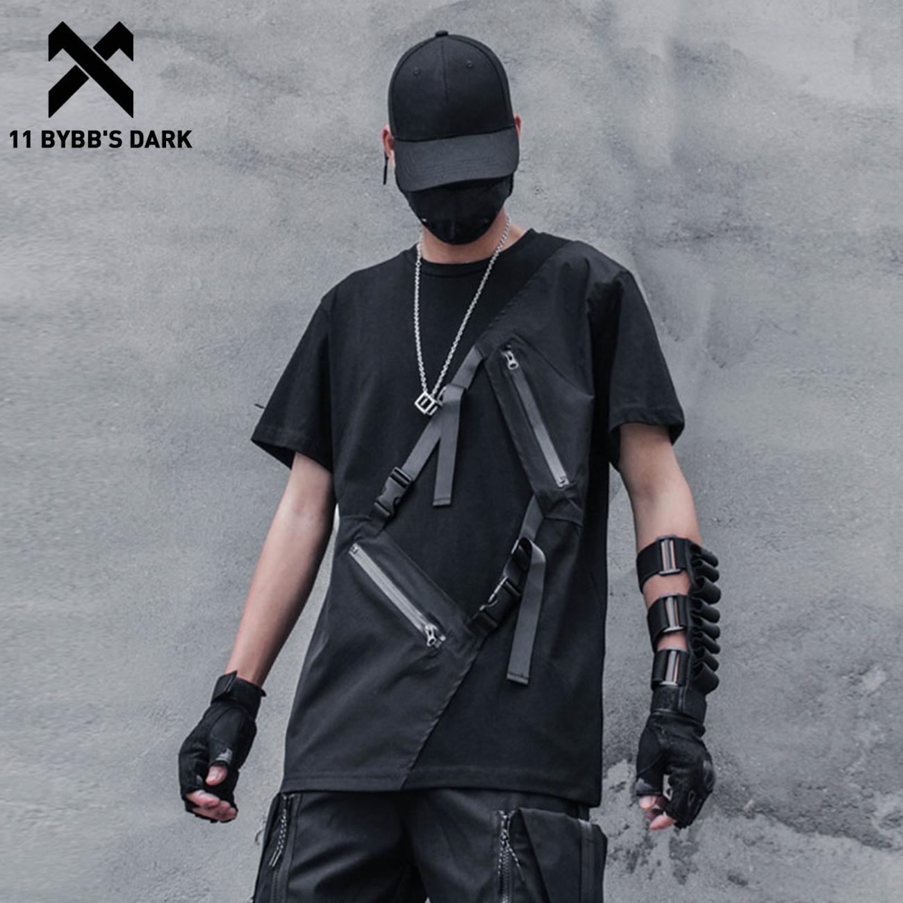 11 BYBB'S DARK 2021 شريط المرقعة الهيب هوب تي شيرت الرجال وظيفية Harajuku بلايز القطن فضفاضة قصيرة الأكمام قمصان الشارع الشهير