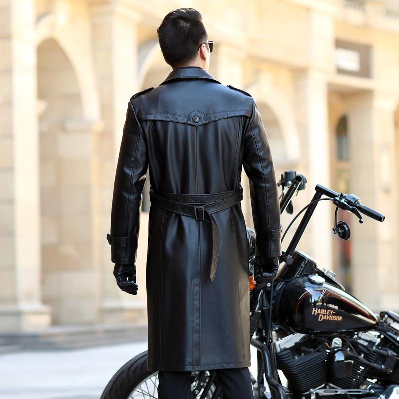 جلد الرجال الخريف والشتاء جديد فوق الركبة معطف جلد الأعمال معطف جلد غير رسمي جلد الرجال