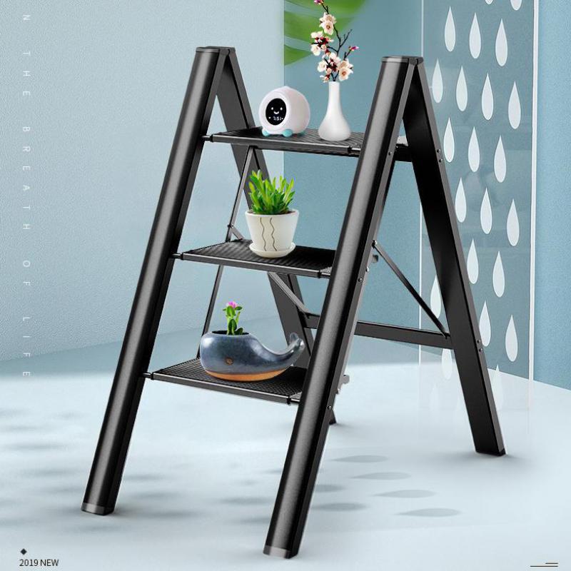 Ultra-delgada de escalera plegable hogar espiga escalera interior gruesa de aleación de aluminio de Rack tres escalera taburete