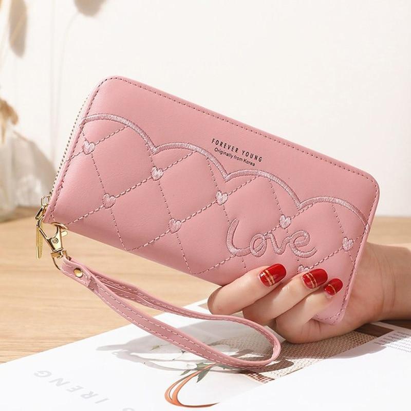 Длинный бумажник в нашем магазине мода товары для вышивания из искусственного шёлка женская сумочка кошелек мульти-карты все-матч мобильны...